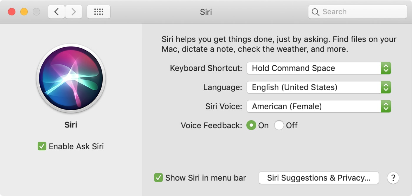 Siri Keyboard Shortcuts Mac
