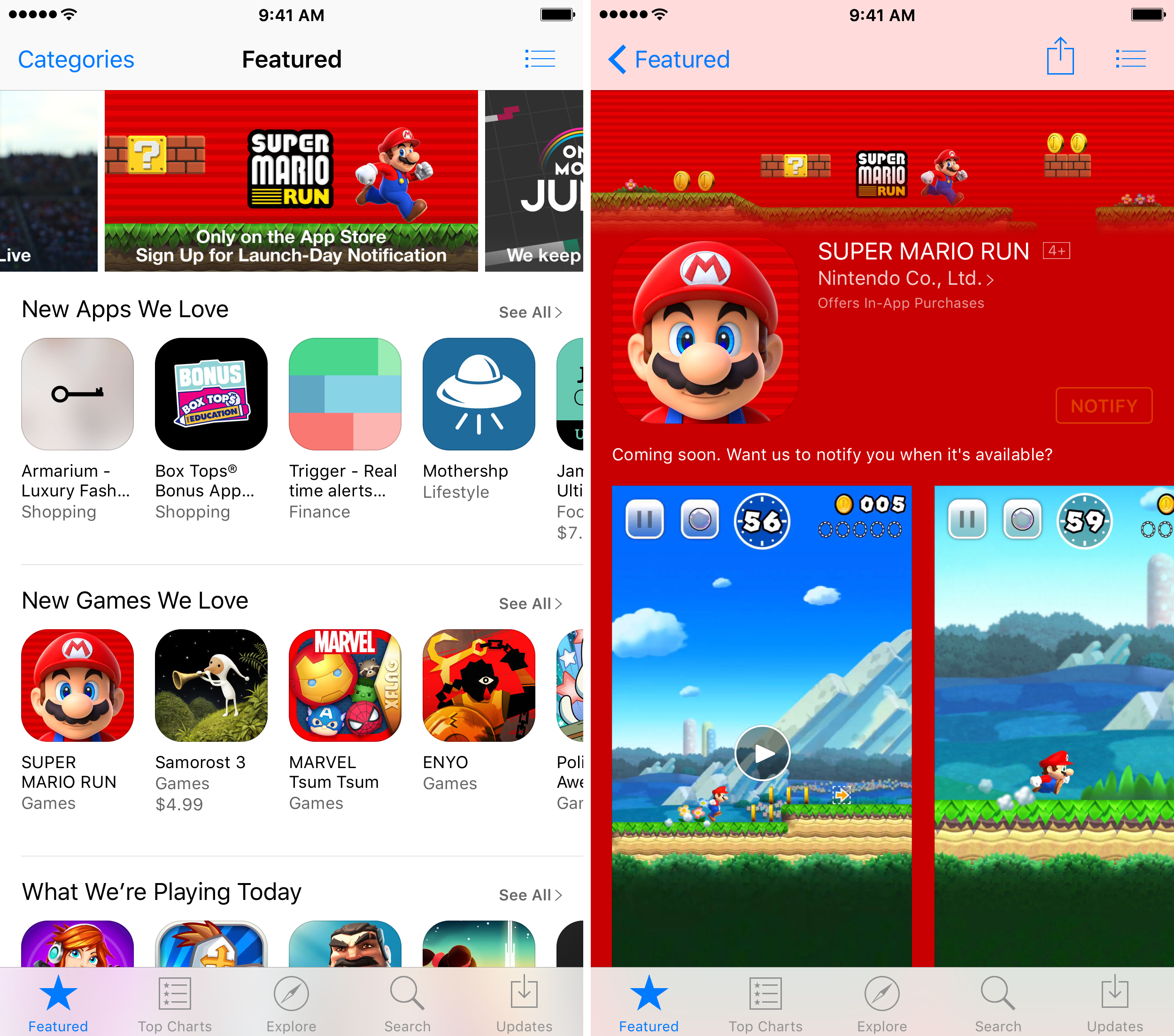 Super Mario Run Notify App Store