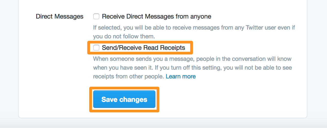 Twitter Direct Messages Read Receipts Disabled Save Changes