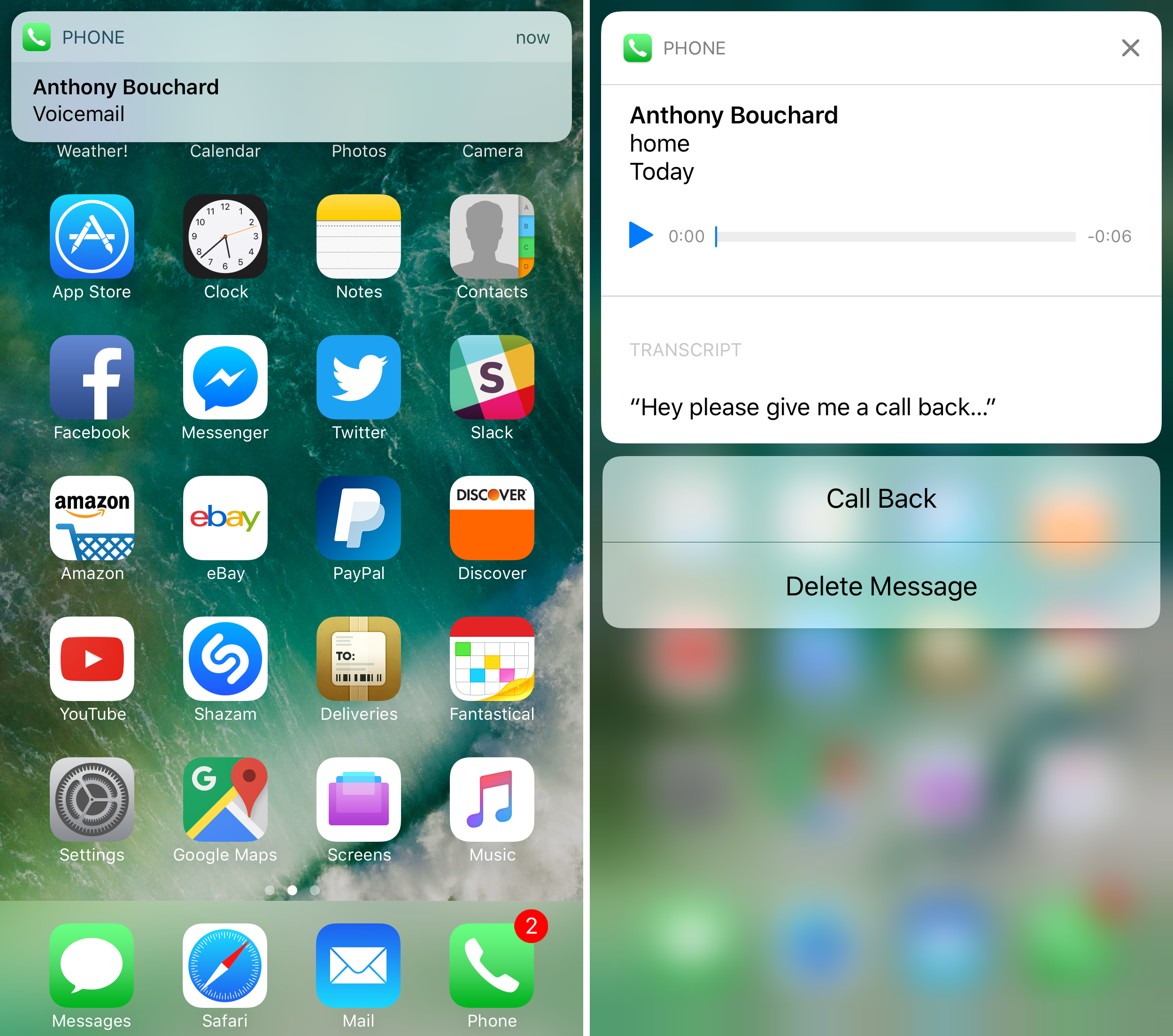 read voicemail transcription iPhone