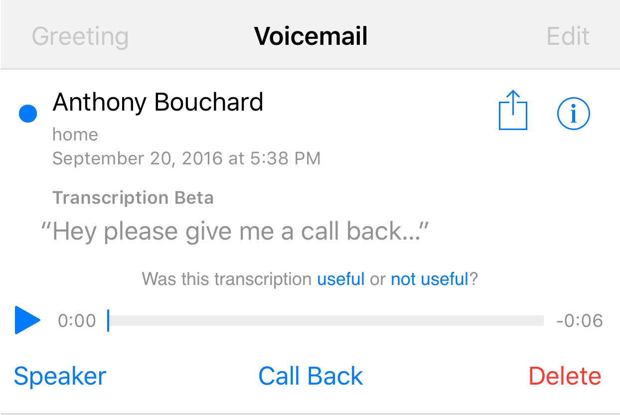voicemail transcription iPhone