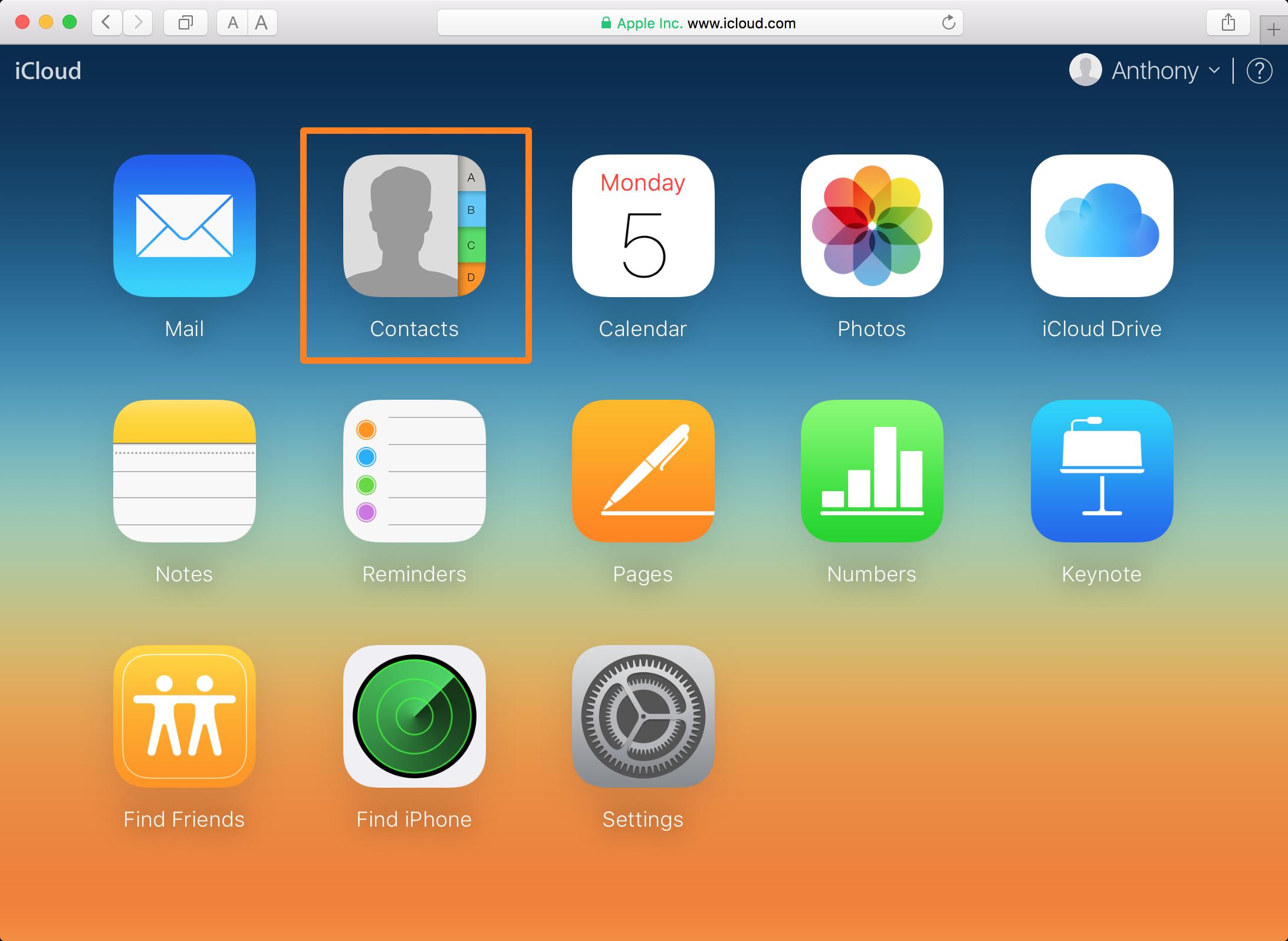 Aplicación web de contactos del sitio web de iCloud