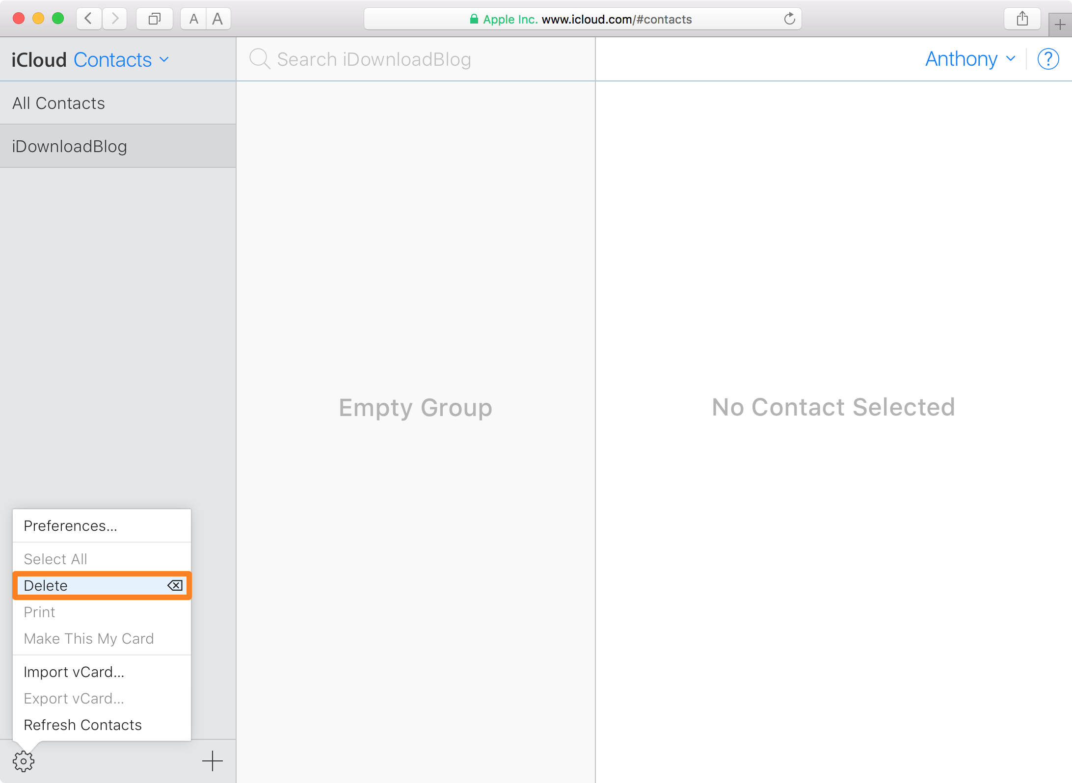 iCloud Website Delete Contacts Group