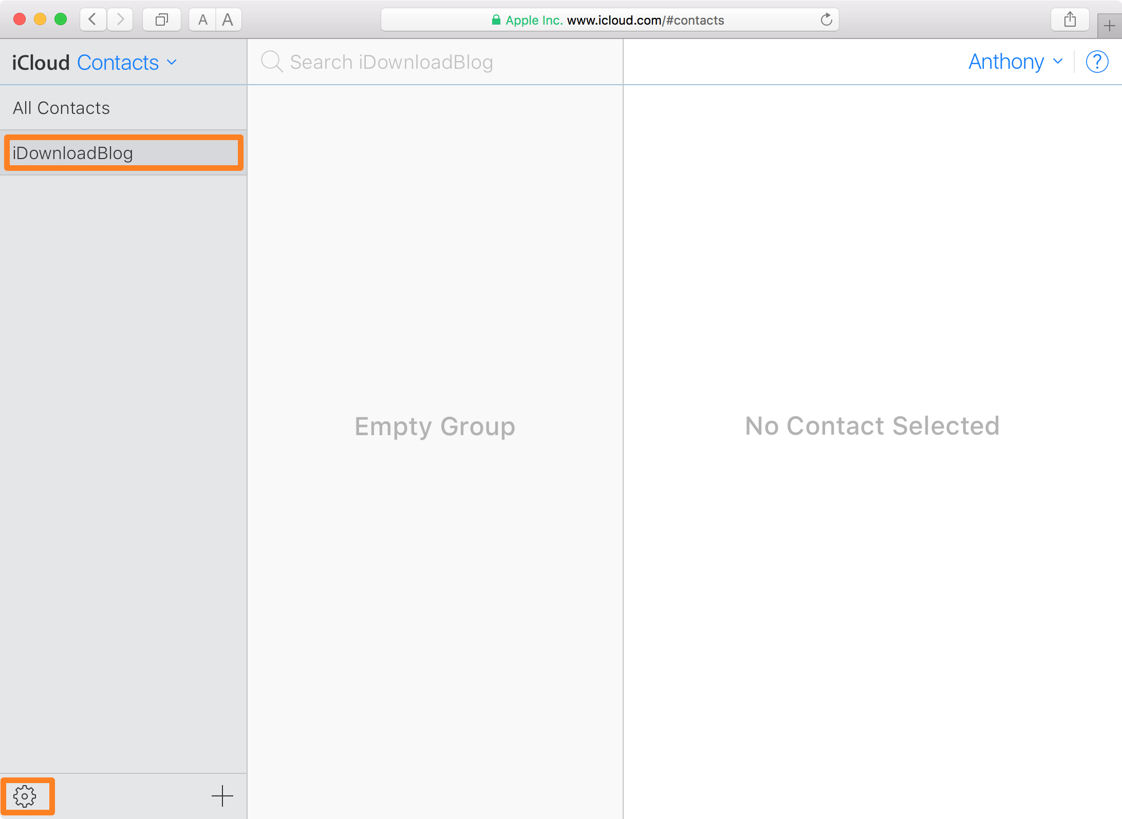 iCloud Website Select Contacts Group and Settings
