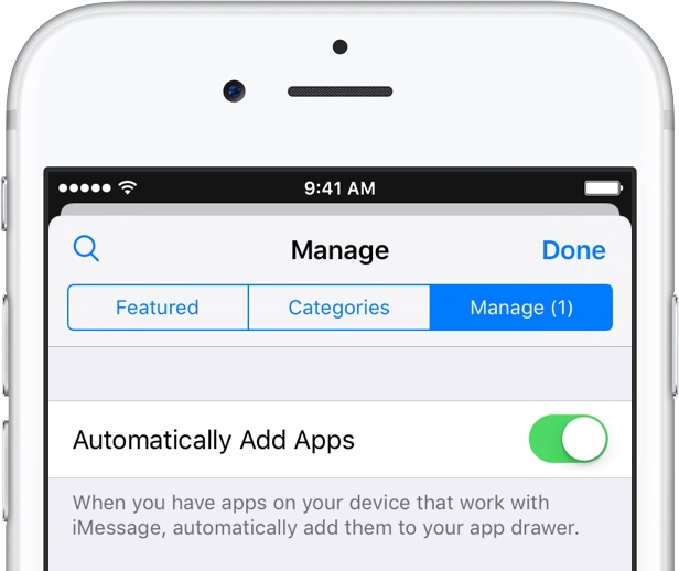 iOS 10 Messages App Store Automatically Add Apps silver iPhone screenshot 001