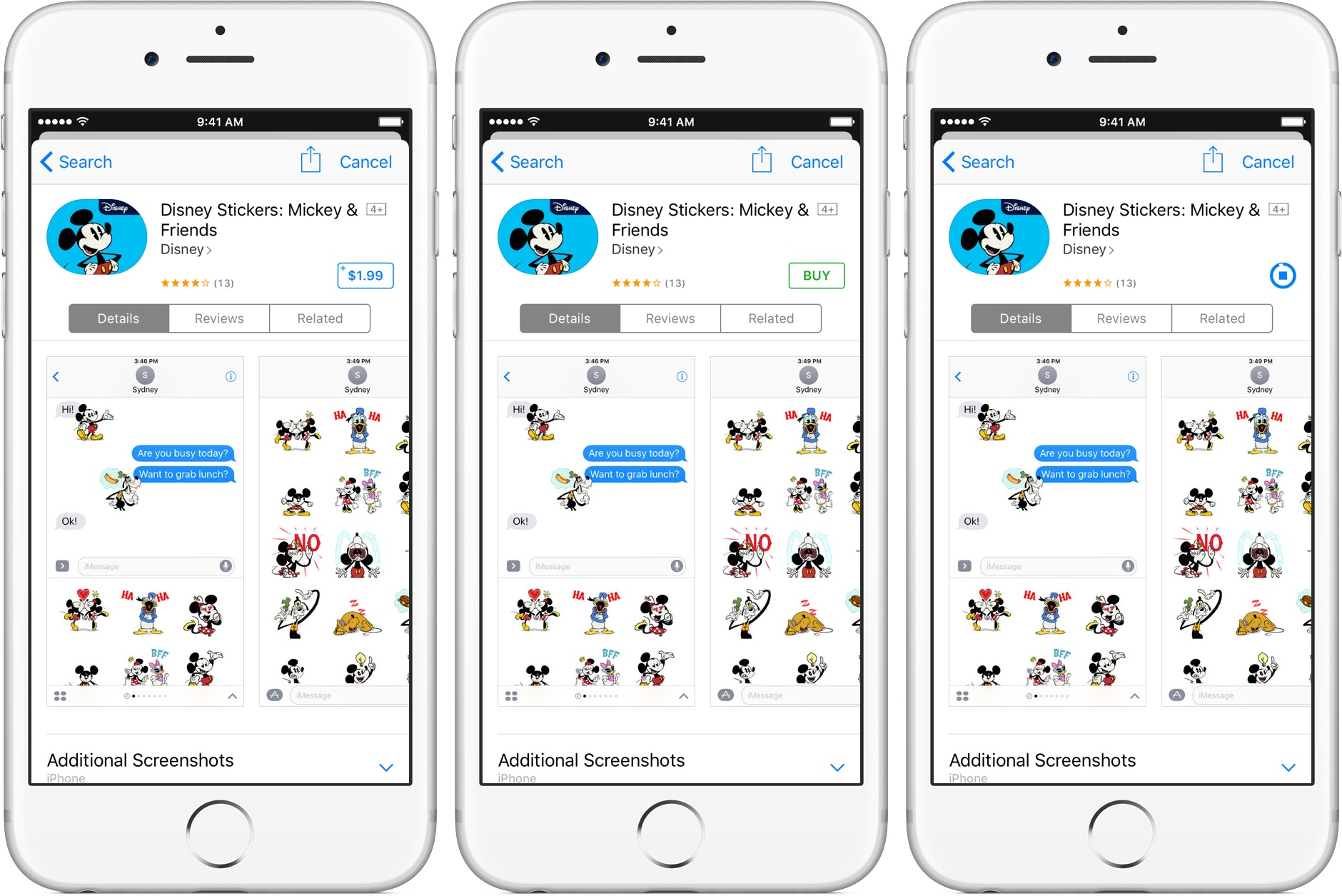iOS 10 Messages App Store download sticker packs silver iPhone screenshot 001