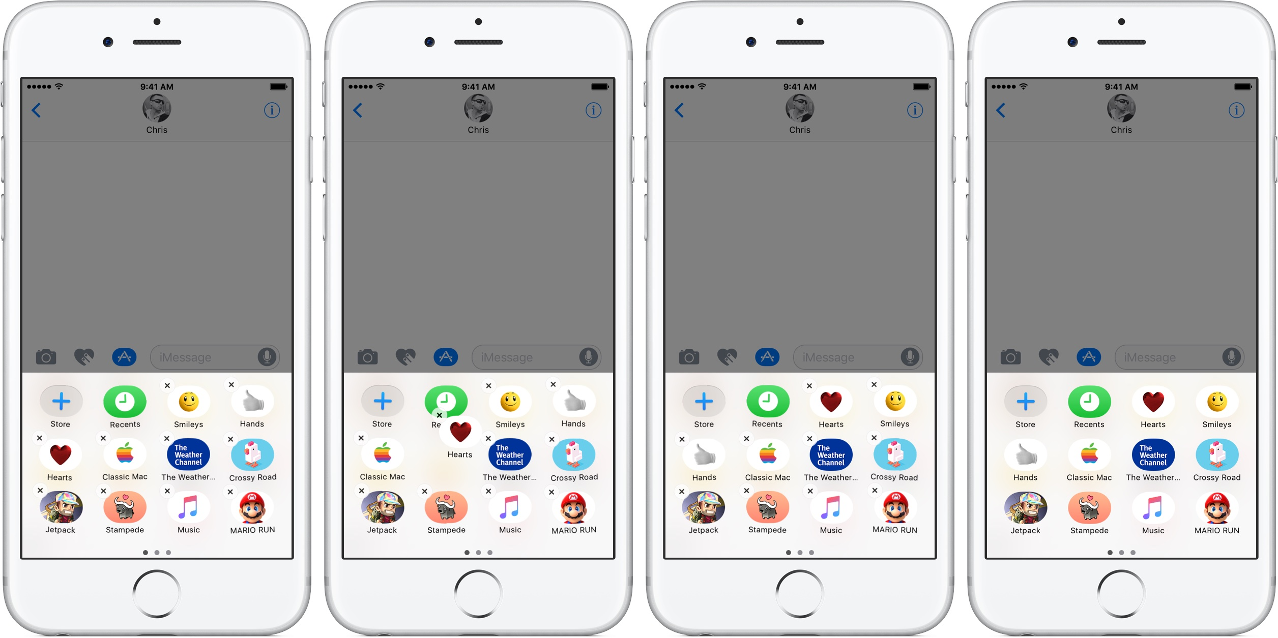 iOS 10 Messages reorder sticker packs silver iPhone screenshot 005
