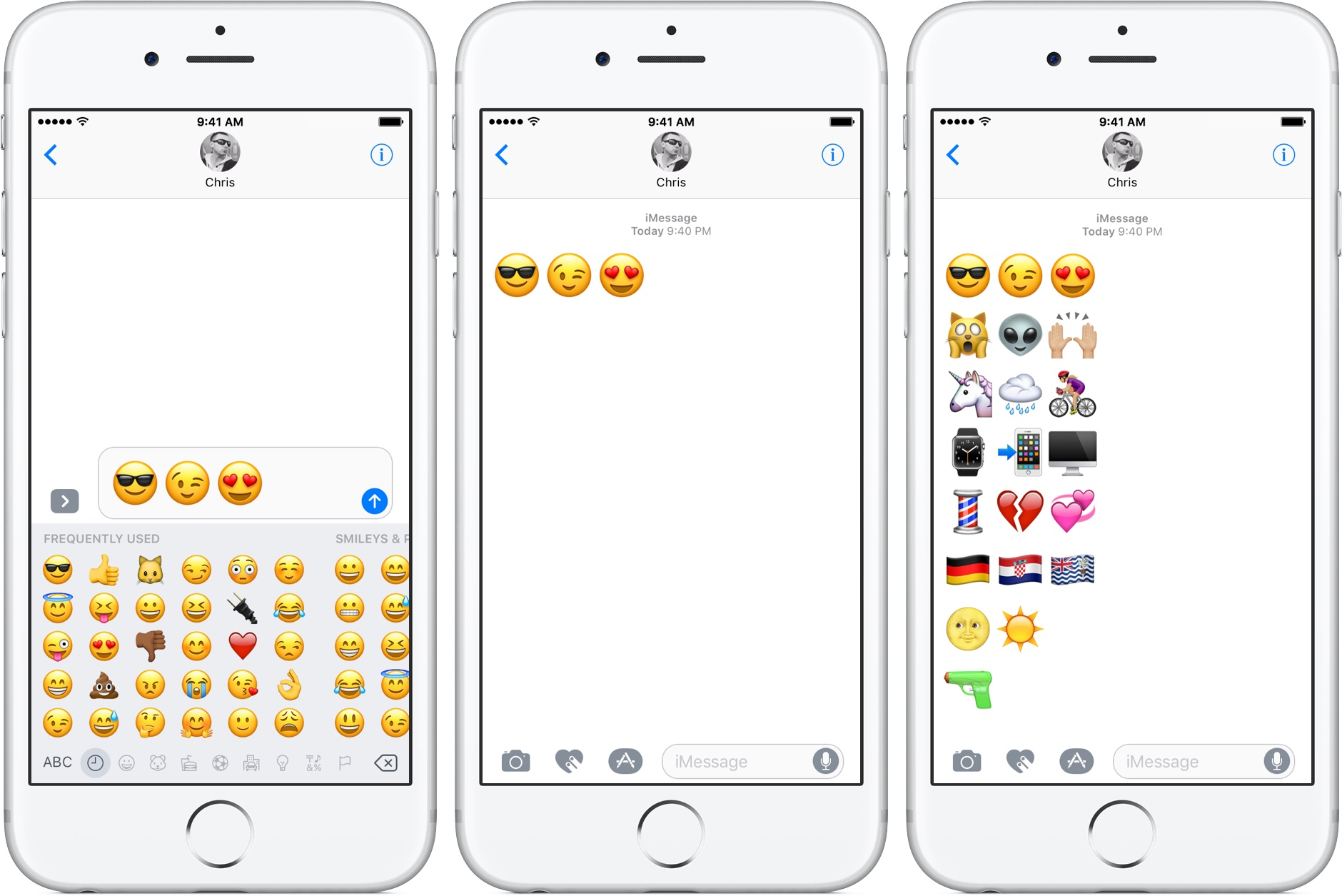 iOS 10 Messages emoji three times bigger silver iPhone screenshot 001