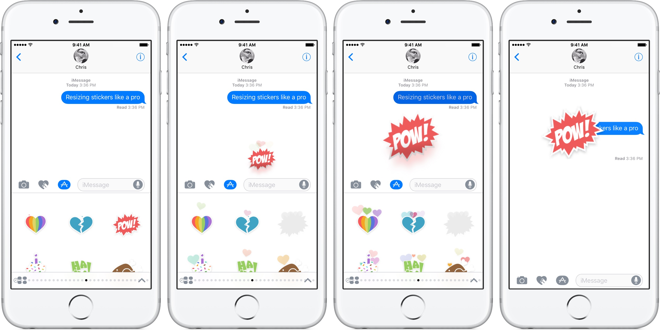 iOS 10 Messages resize stickers silver iPhone fullscreen screenshot 003