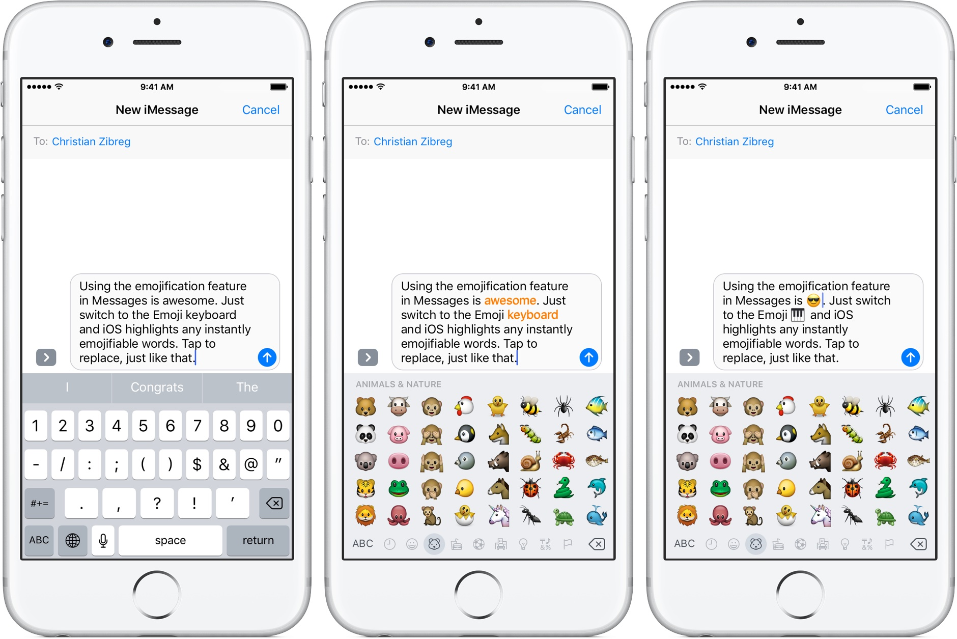 iOS 10 Messages tap to replace with emoji silver iPhone screenshot 002
