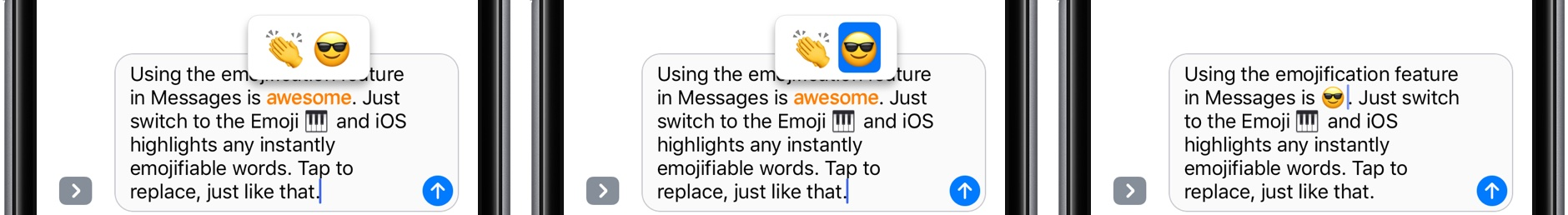 iOS 10 Messages tap to replace with emoji space gray iPhone screenshot 003