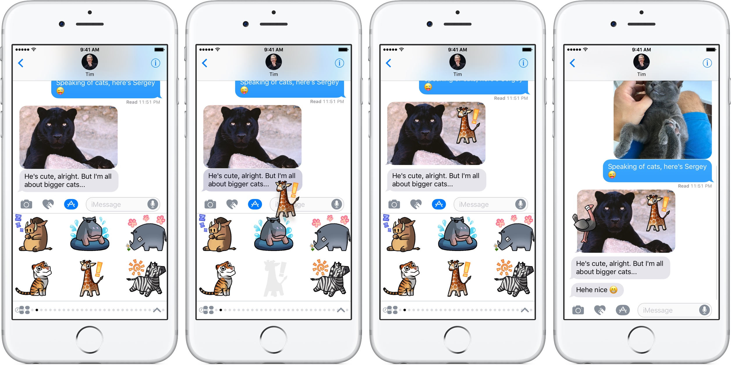 iOS 10 Messages use stickers silver iPhone fullscreen screenshot 003