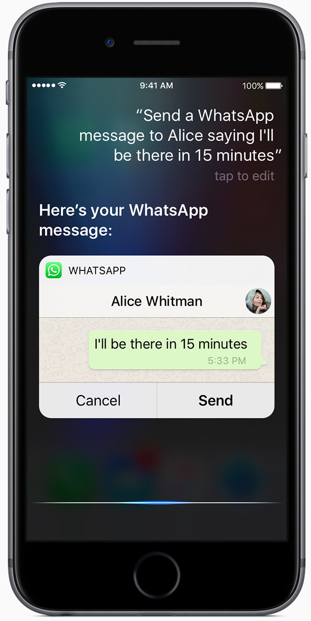 iOS 10 Siri WhatsApp iPhone screenshot 001