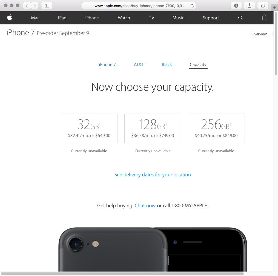 iPHone 7 Black storage options web screenshot 002