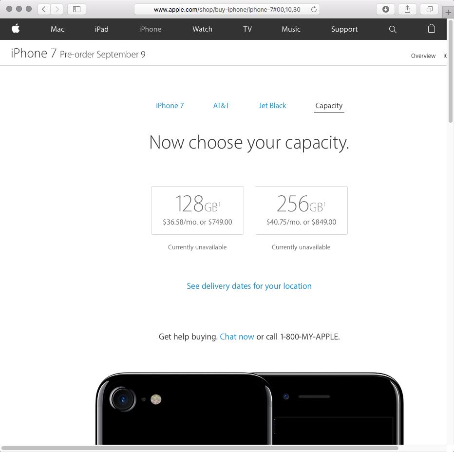 iPHone 7 Jet Black storage options web screenshot 001