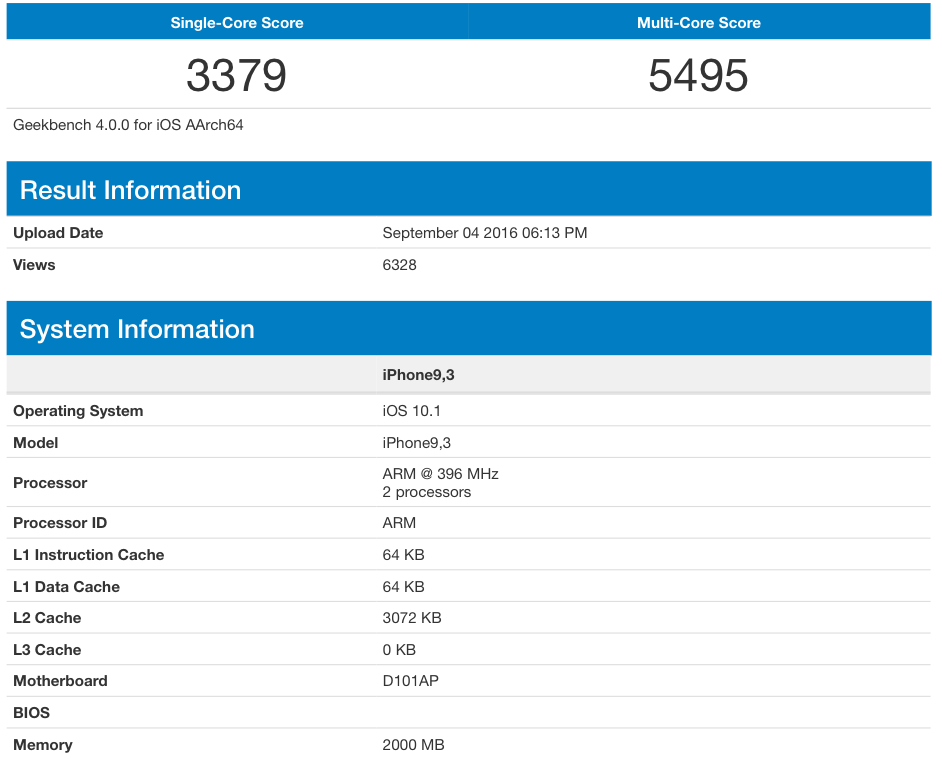 iPhone 7 GeekBench CPU Scores leak 001