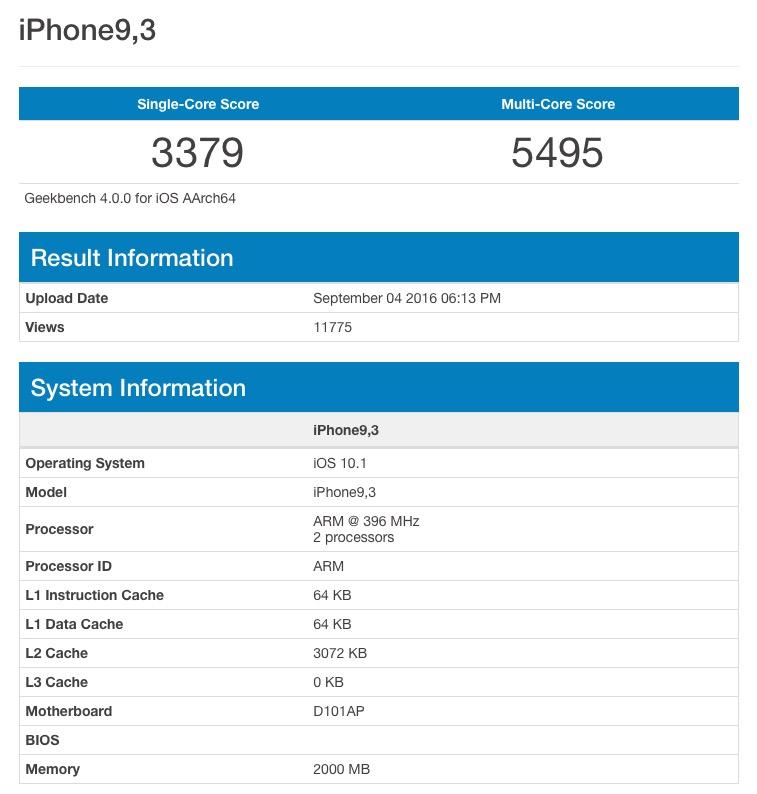 iPhone 7 Plus Geekbench Score