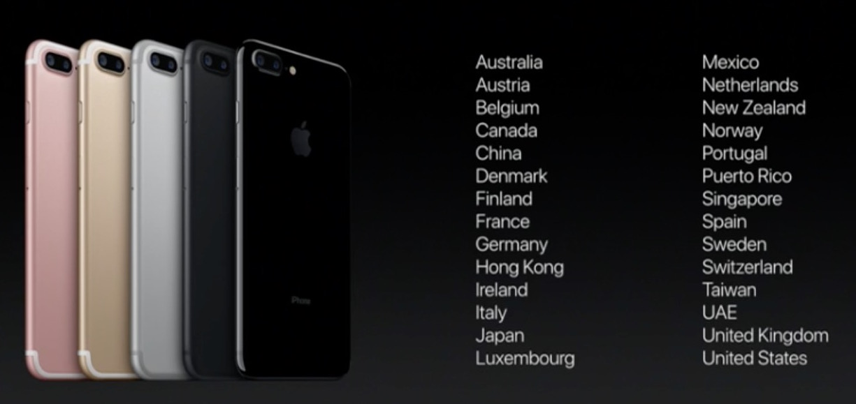 iPhone 7 launch countries day 1