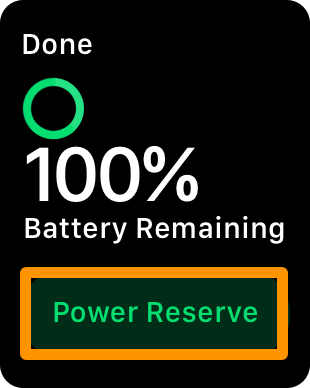 turning on apple watch Power Reserve mode - reserve button