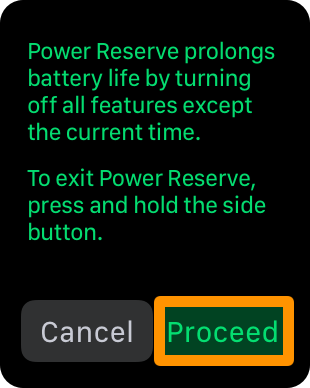 turning on apple watch Power Reserve mode - proceed