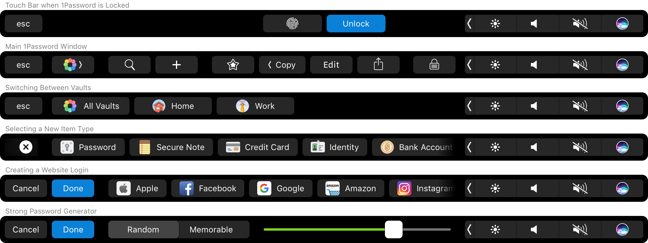 1PAssword for Mac Touch ID Touch Bar icons 001