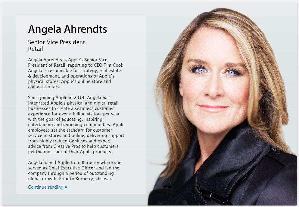 Angela Ahrendts SVP Retail new bio page