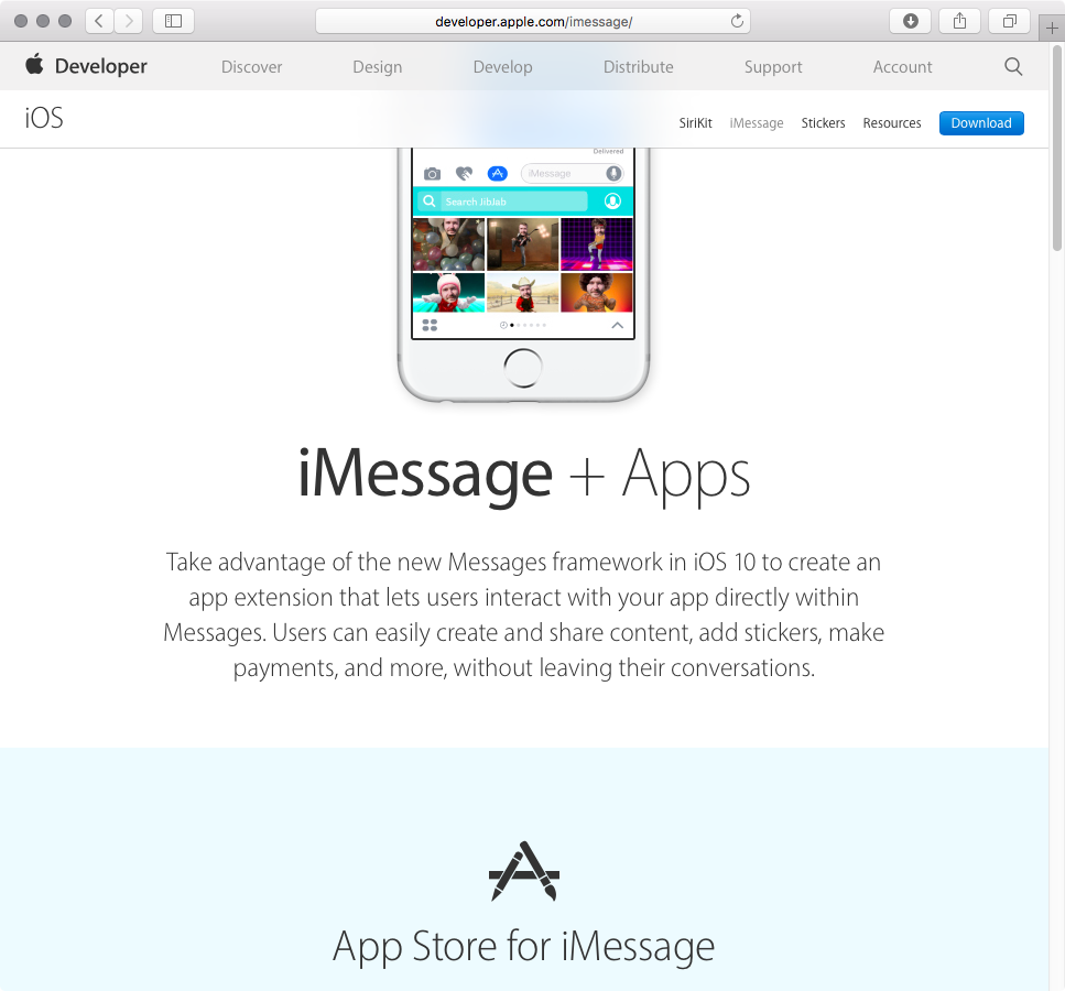 Apple Developer iMessage Apps web screenshot 001