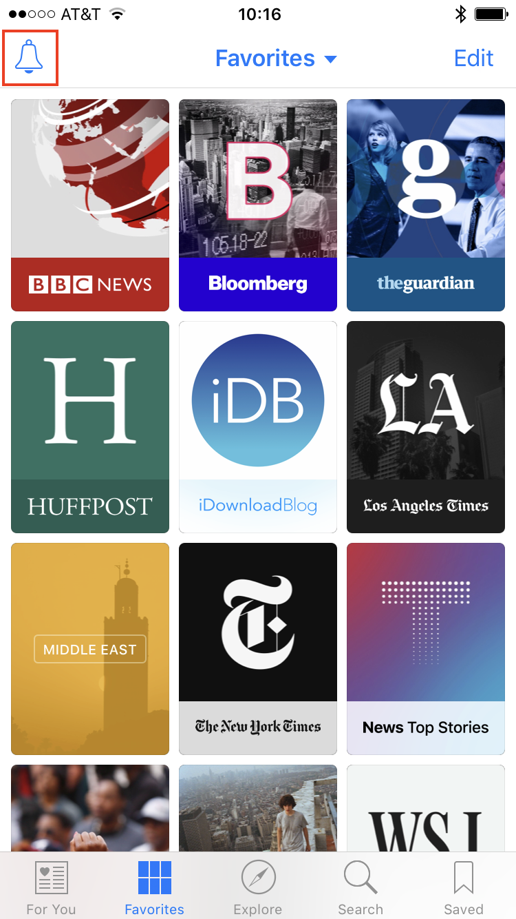 Notificaciones de Apple News Channels 1