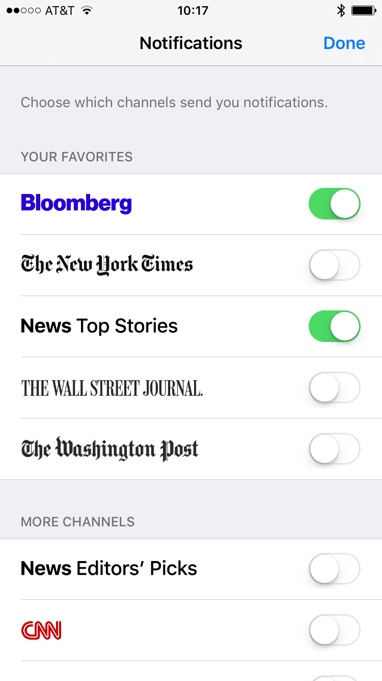 Notificaciones de Apple News Channels 2