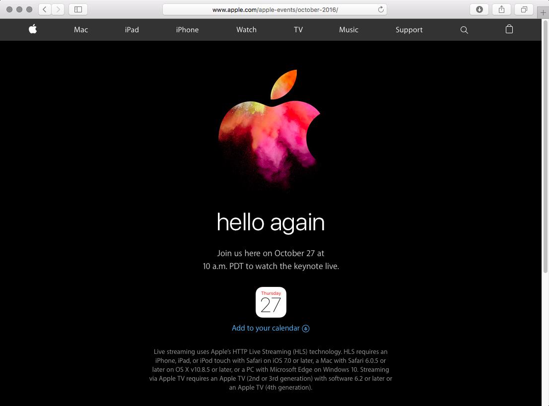 Apple October 2016 event live stream web screenshot 001