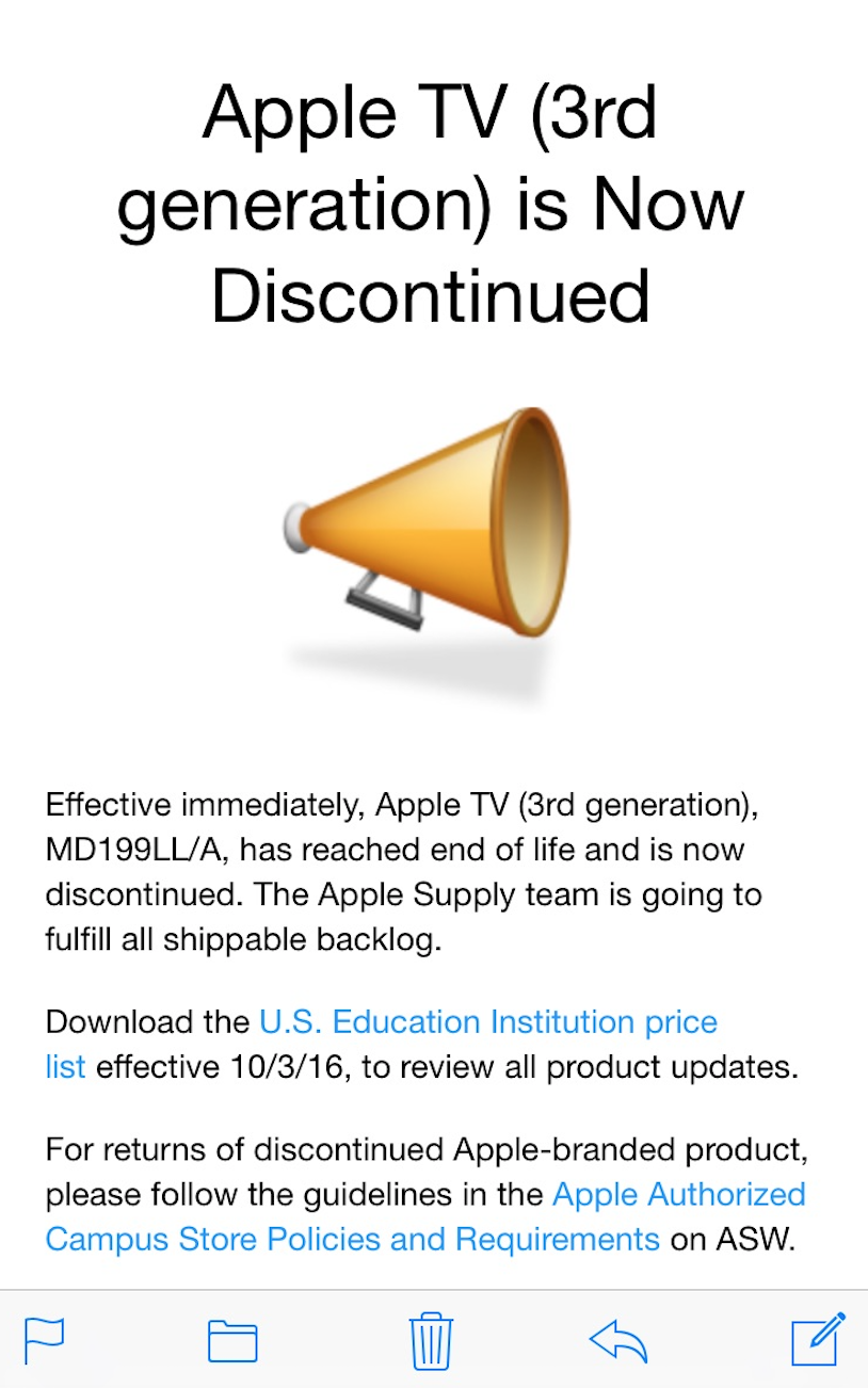 Apple TV 3 discontinued email
