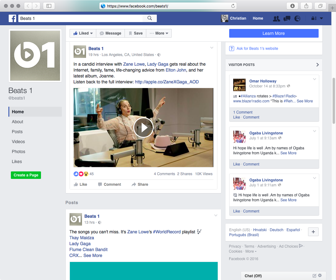 Beats 1 RAdio Facebook page web screenshot 001