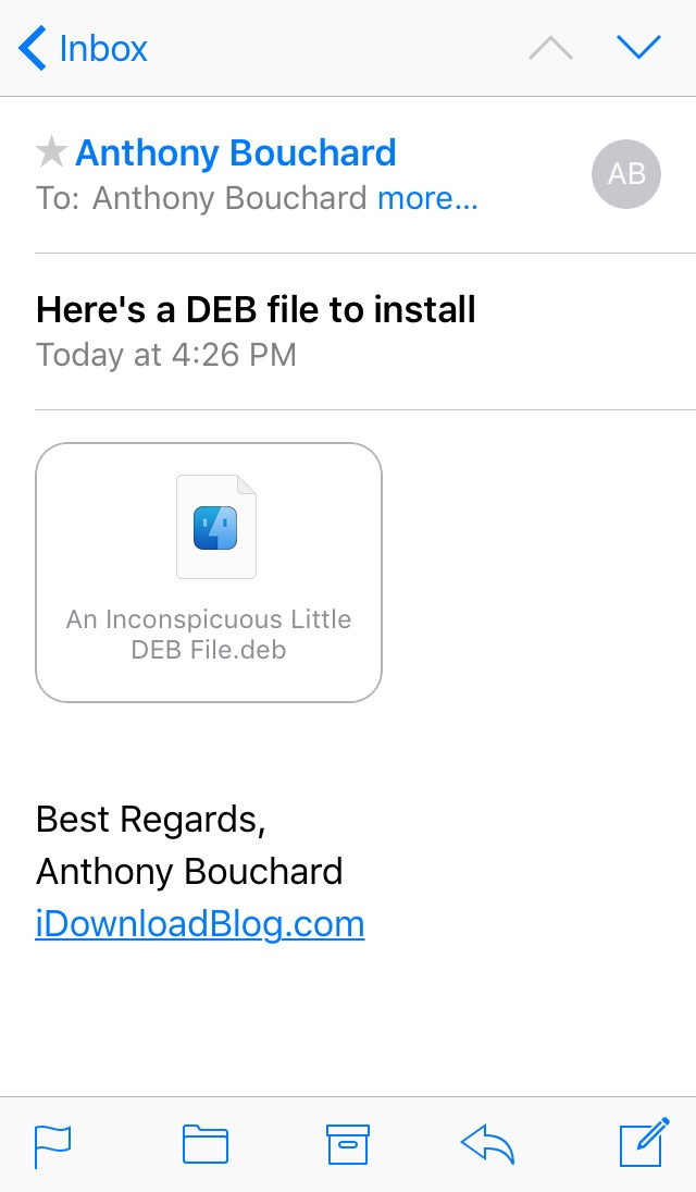 Deb File In iOS Email