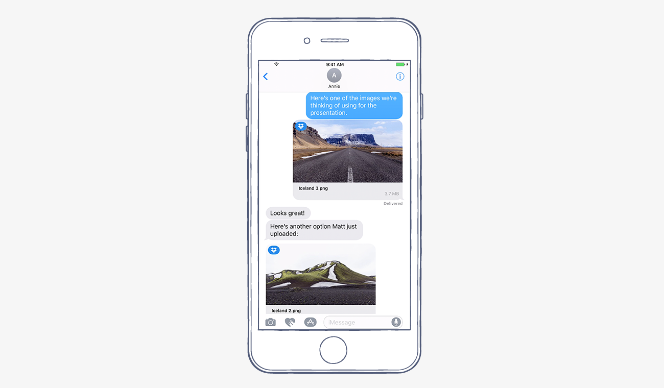 Dropbox iOS iMEssage integeration