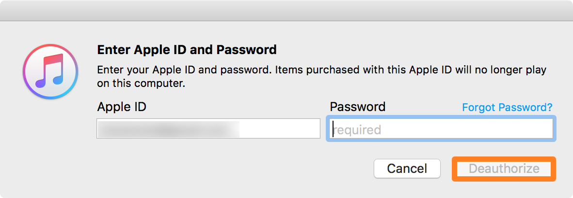Enter Apple ID and Deauthorize