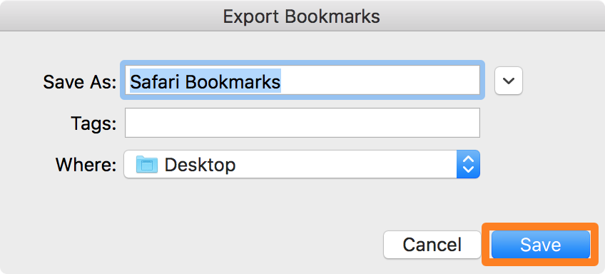 Export Safari Bookmarks to HTML file