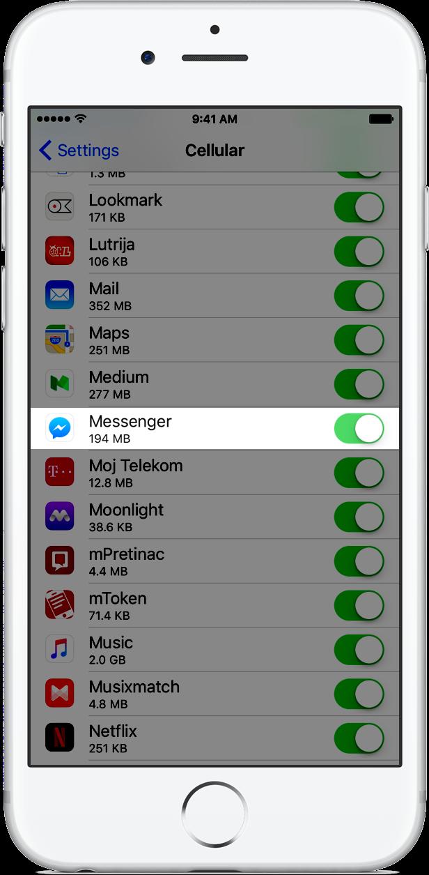 FAcebook Messenger cellular data image 001