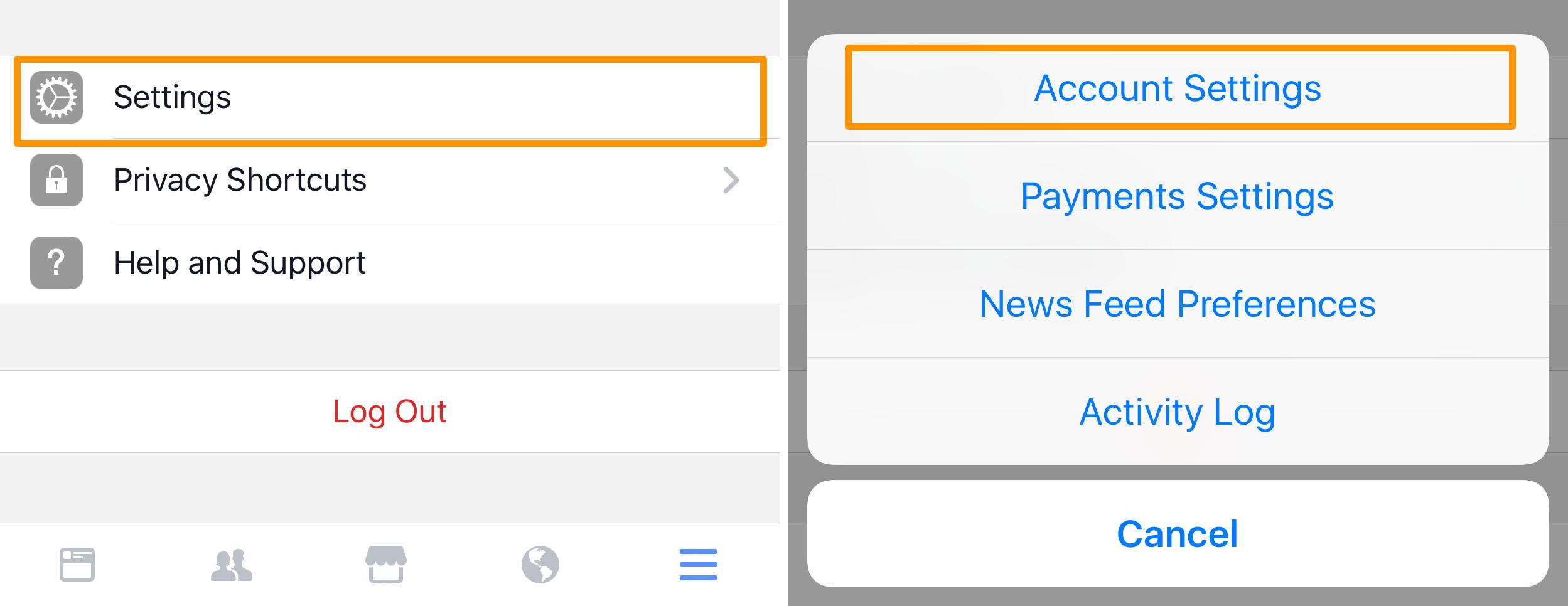 Facebook App Account Settings
