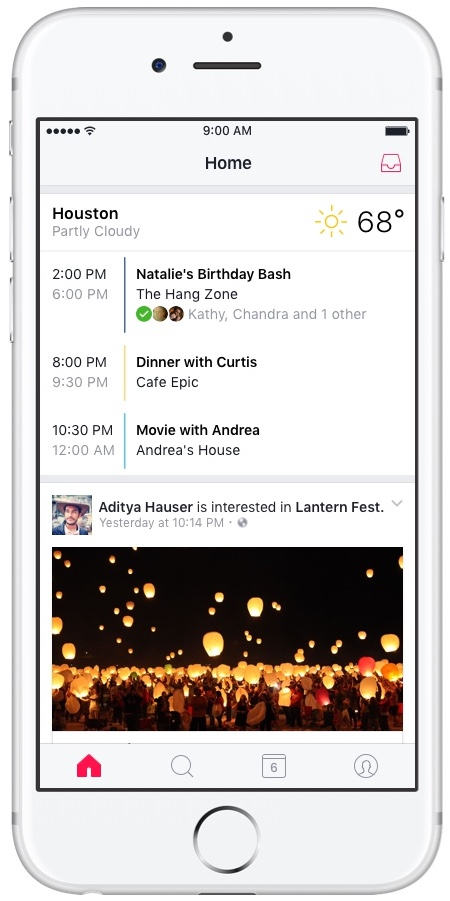 Facebook Events Home iPHone screenshot 001