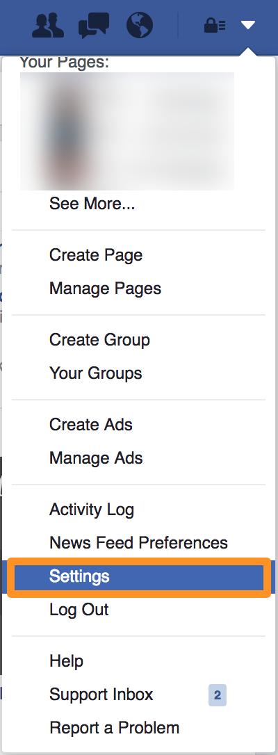 Página de perfil de configuración de Facebook