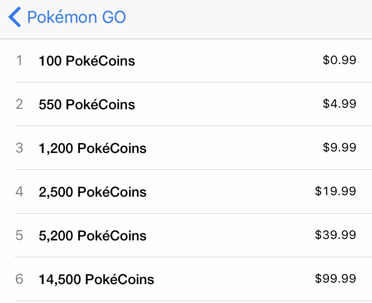 Pokémon go in app purchases
