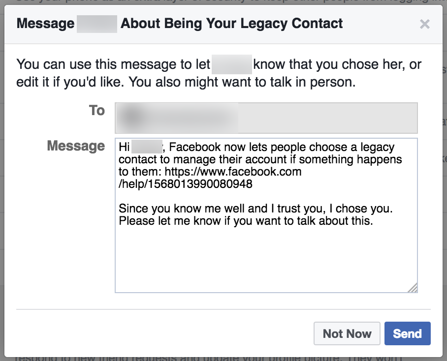 Legacy Contact Message