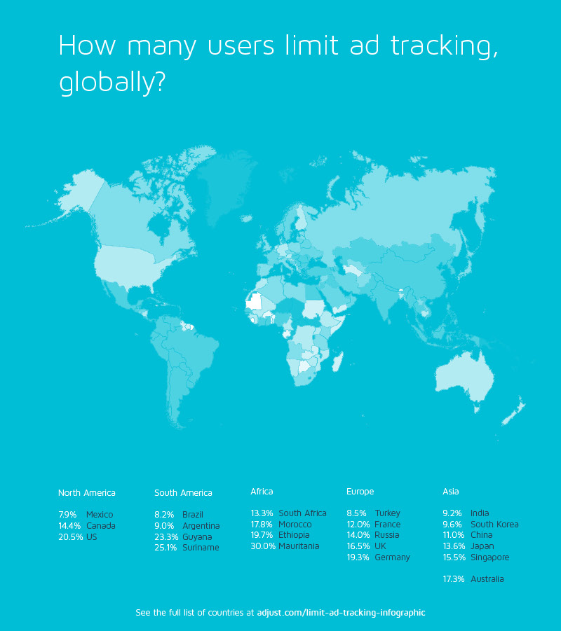 Limit Ad Tracking world map Adjust survey 002