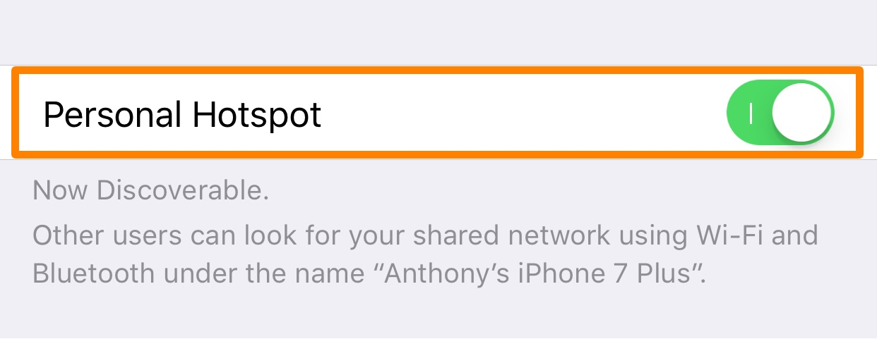 Personal Hotspot iPhone