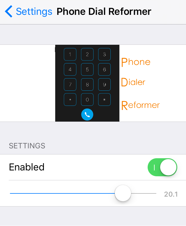 PhoneDialReformer Settings