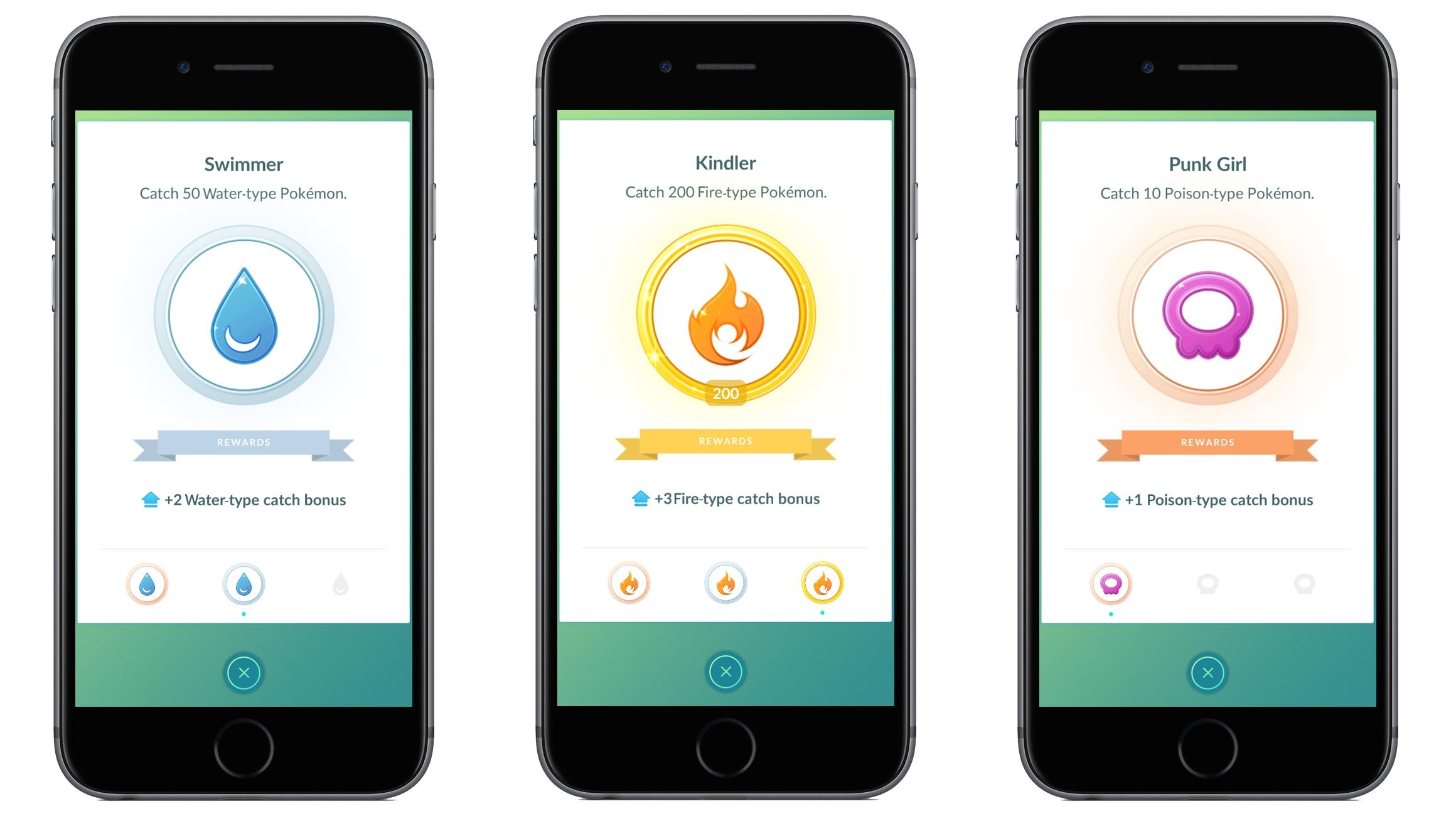 Pokémon GO atrapar medallas de bonificación