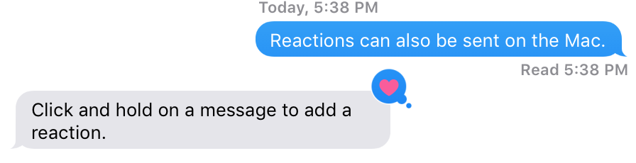 Reactions Messages app Mac