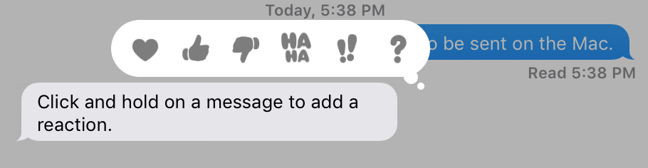 Reactions bubble messages macOS