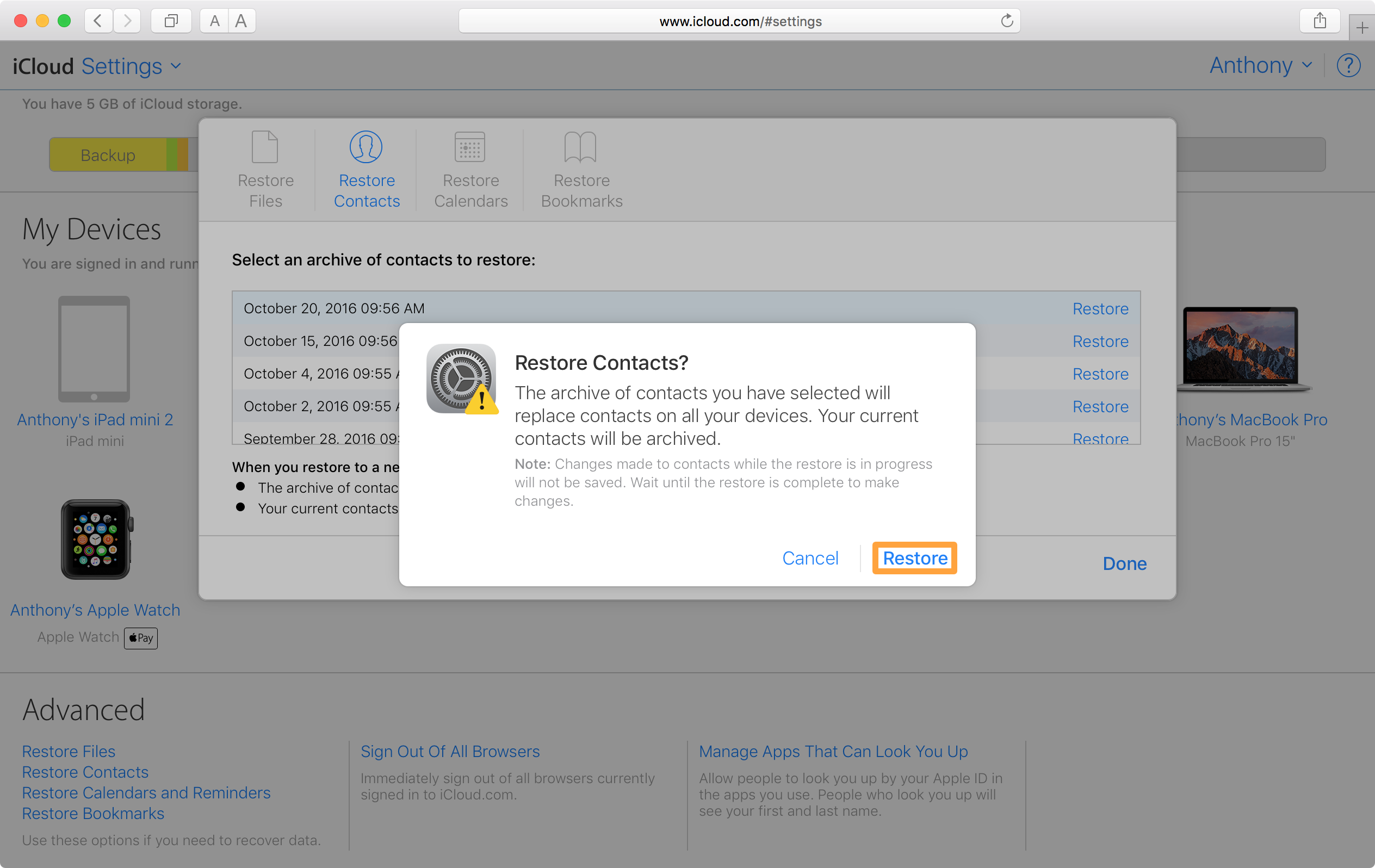 Restore Contacts iCloud Confirm
