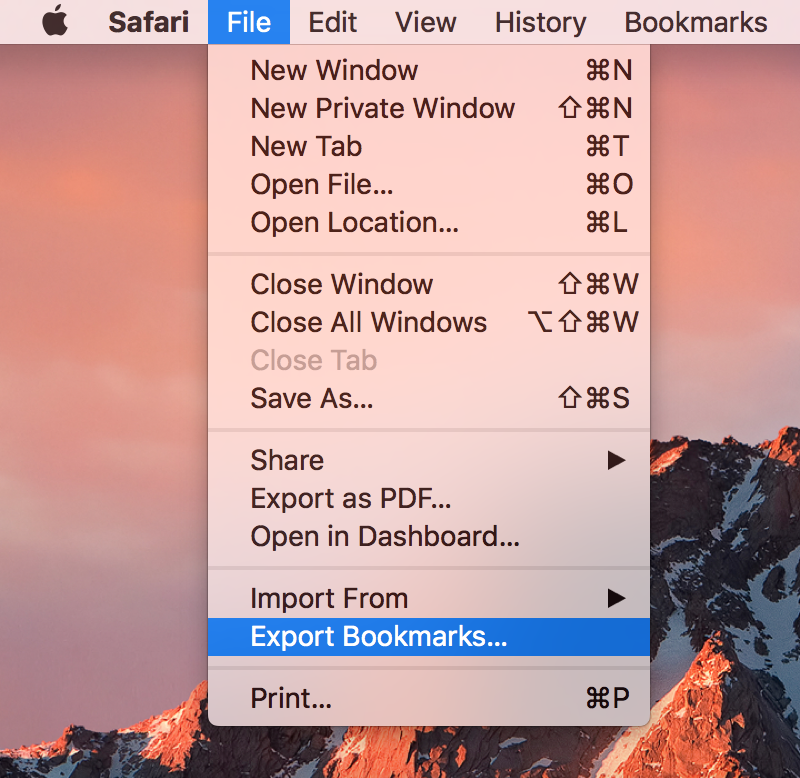 Safari Export Bookmarks